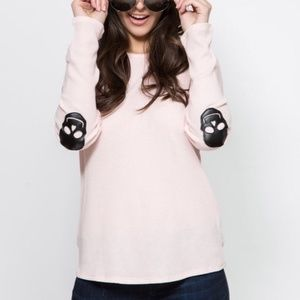 Skull Elbow Patch Thermal Long Sleeve Pink